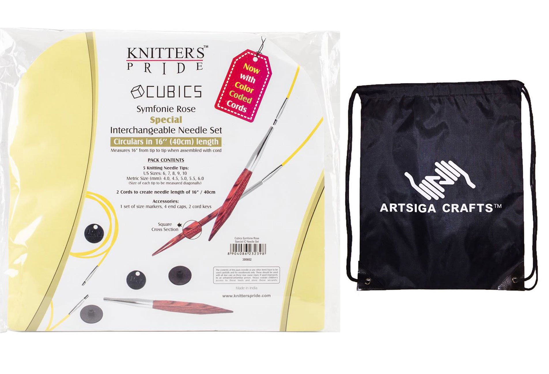 Knitter's Pride Knitting Needles Cubics Special 16 inch Interchangeable Short Tip Set Bundle with 1 Artsiga Crafts Project Bag 300602