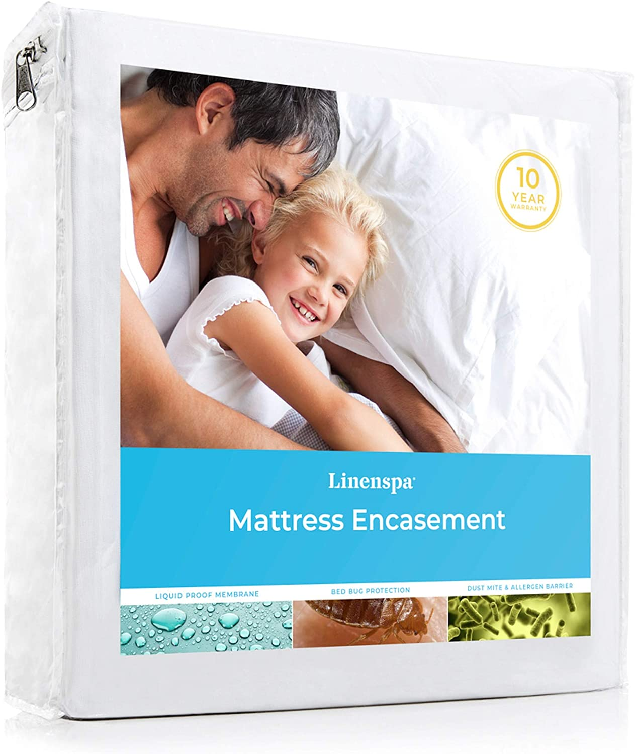 LINENSPA Zippered Encasement Waterproof, Dust Mite Proof, Bed Bug Proof, Hypoallergenic Breathable Mattress Protector - Full Size