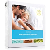 (Queen) - LINENSPA Zippered Encasement Waterproof, Dust Mite Proof, Bed Bug Proof Breathable Mattress Protector - Queen Size