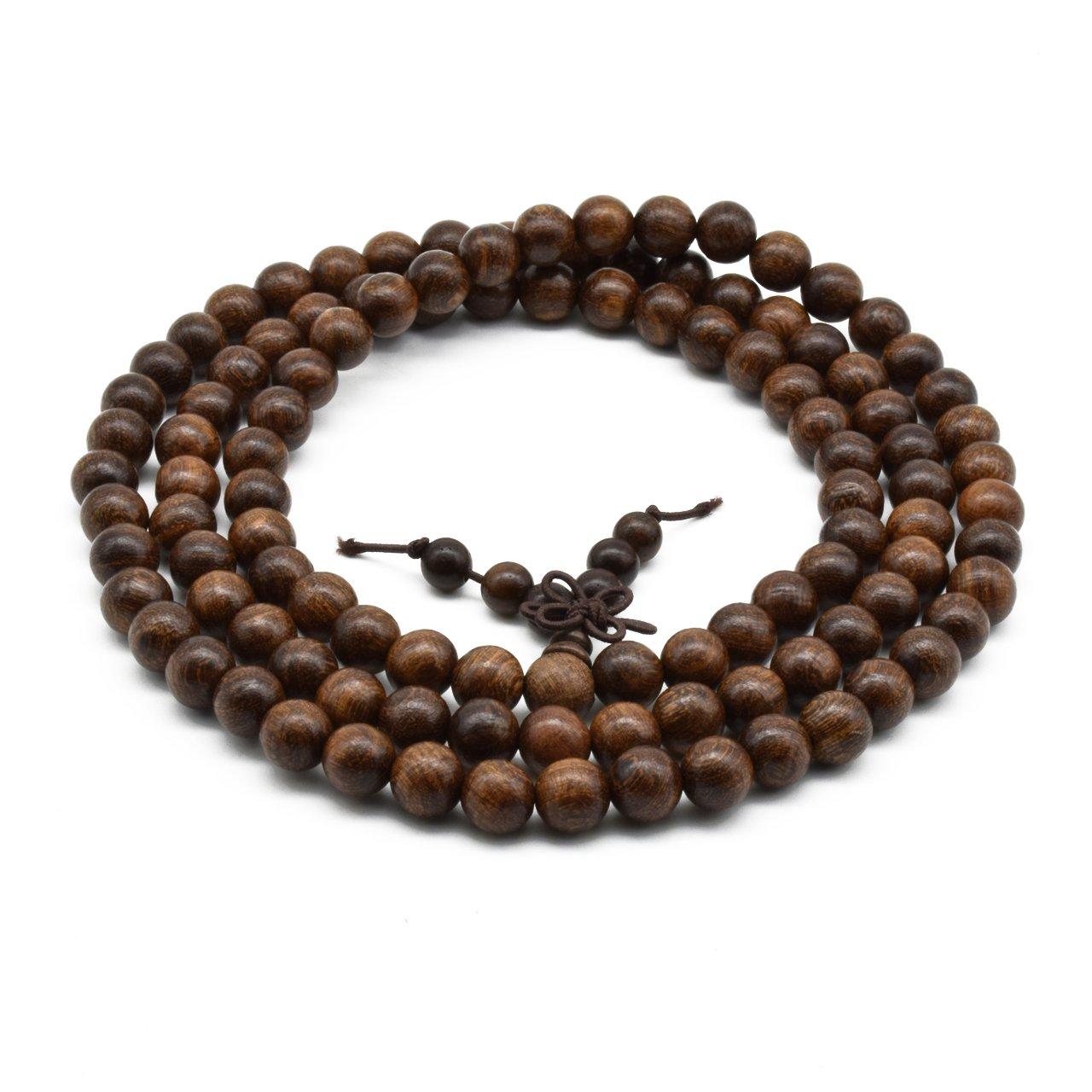 Zen Dear Unisex Natural Silkwood Tibetan Buddhism Meditation Prayer Bead Necklace Japa Mala Beads Bracelets