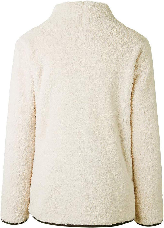 Romanstii Sherpa Jacket Women Turtleneck Pullover Fleece Loose Sweatshirt Warm Outwear Casual Tunic Tops Blouses