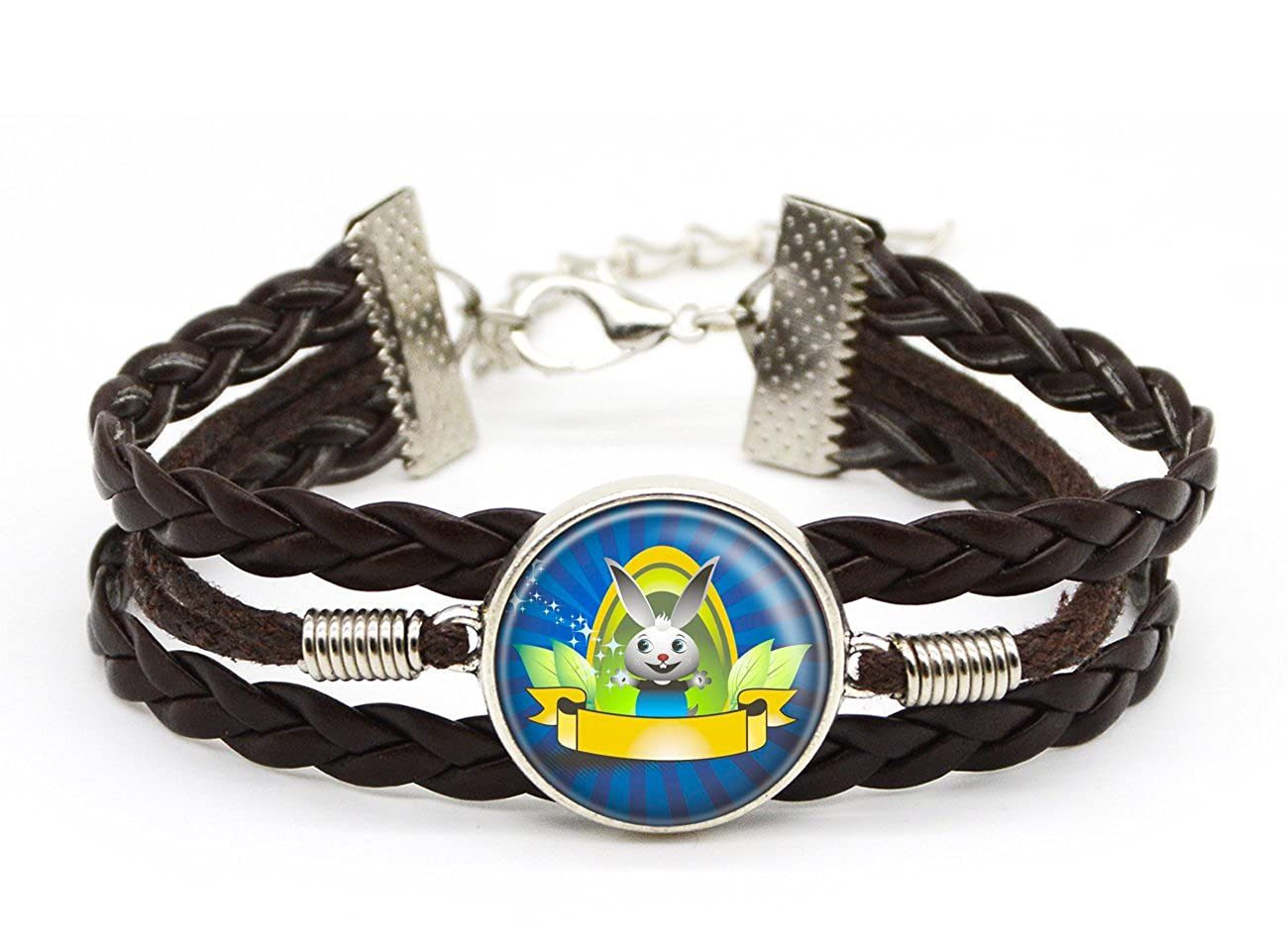 Lan Jin Art Bunny Bracelet Wild Animal Rabbit Jewelry Custom Brown Leather Glass Picture Bracelet