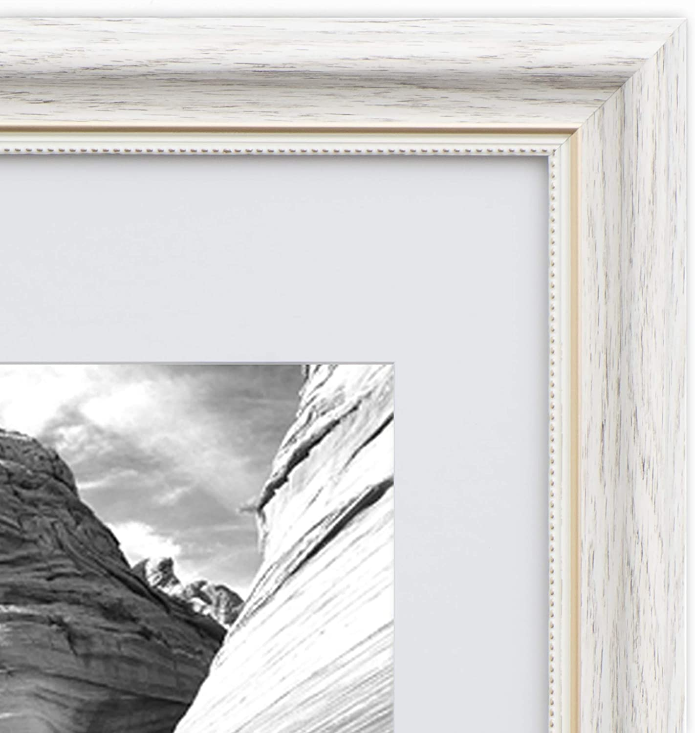EcoHome 11x14 Picture Frame - Matted to 8x10 Distressed White