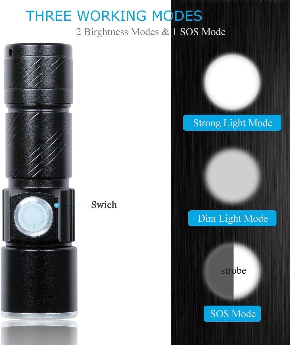 linterna con 3 modos y extremadamente brillante Mini linterna LED recargable por USB 350 l/úmenes Fulighture resistente al agua IPX4 camping 2 unidades zoom para exterior senderismo