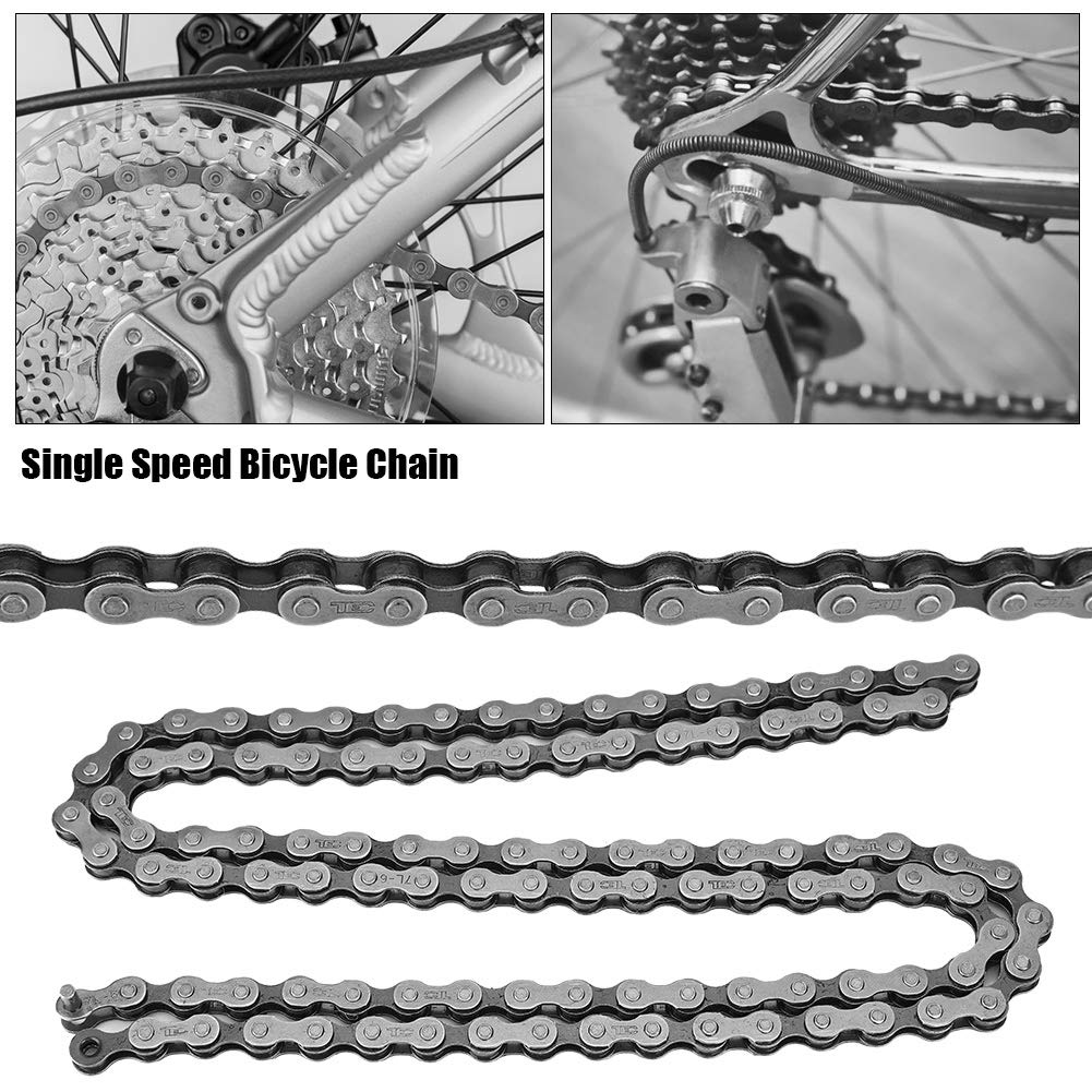 MTB Folding Bicycle Road Vehicles Alomejor Speed Bicycle Chain 106 Links Hollow-Out Chain Links Mountain Bike Fixed Gear Single Speed Chain for Mountain Bike