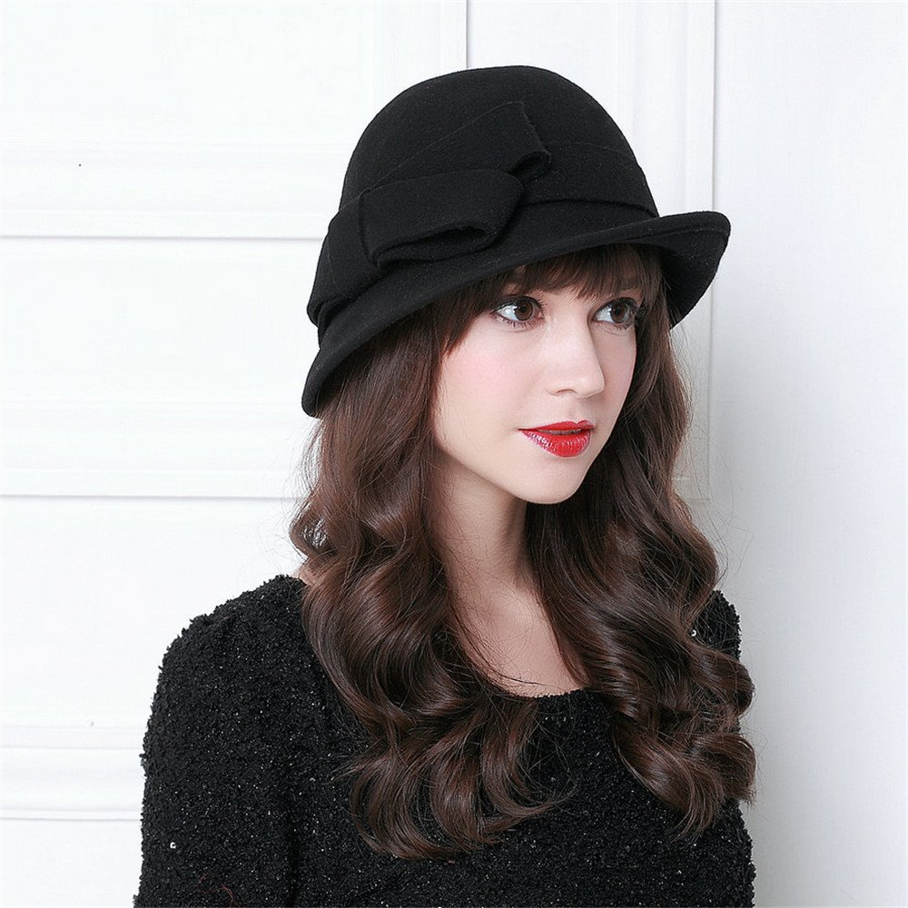orota Vintage Style bowknot Wool Cloche Bucket Winter Hat for woman by Orota