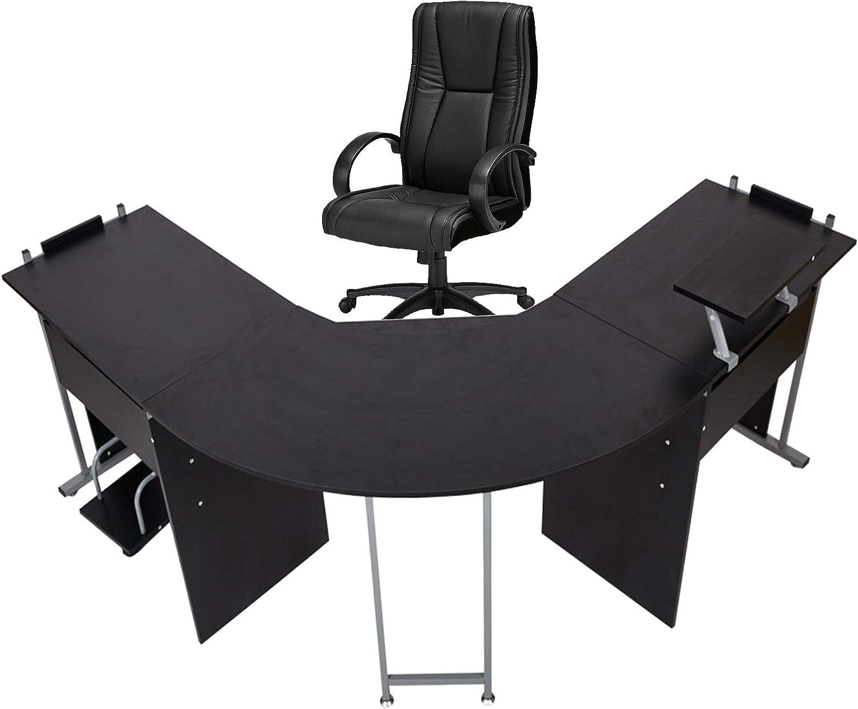 71 L Shaped Gaming Desk Large Desktop 22 Wide Wood Curved Corner Office Desk Sturdy Computer Writing Desks Pc Laptop Table Workstation For Home Office Black Kitchen Dining