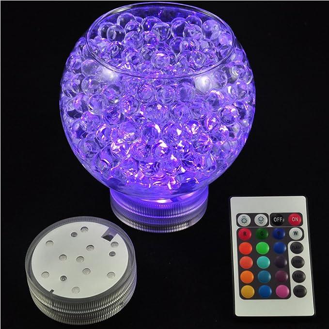 4pcs sumergible luces LED con mando a distancia resistente al agua LED Accent luz redonda de 2.8 pulgadas diseño Tribal para jarrones, centro de mesa, ...