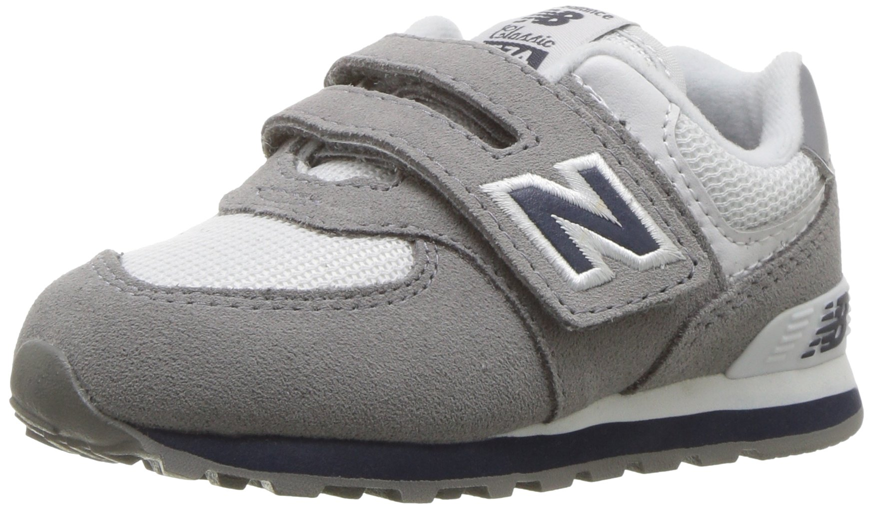 New Balance Boys' 574v1 Essentials Hook and Loop Sneaker Grey/Navy 8 W US Toddler