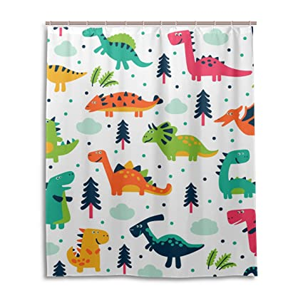 Superbe JSTEL Decor Shower Curtain Cute Dinosaurs Cartoon Pattern Print 100%  Polyester Fabric Shower Curtain 60