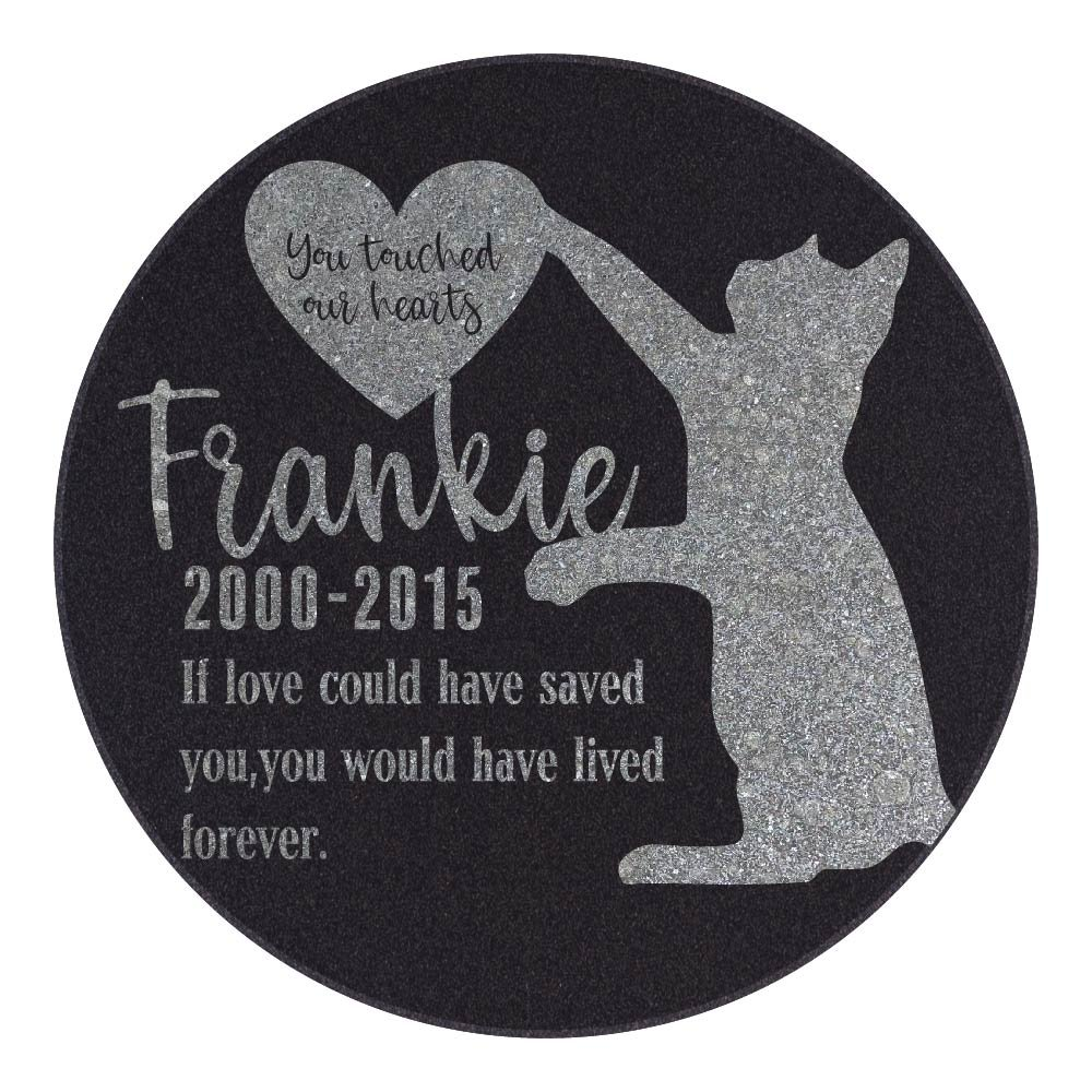 Be Burgundy Personalized Memorial Pet Stone, You Touched Our Hearts - Premium Granite Cat Marker Grave Tombstone - Loss of Pet Gift-6-12R