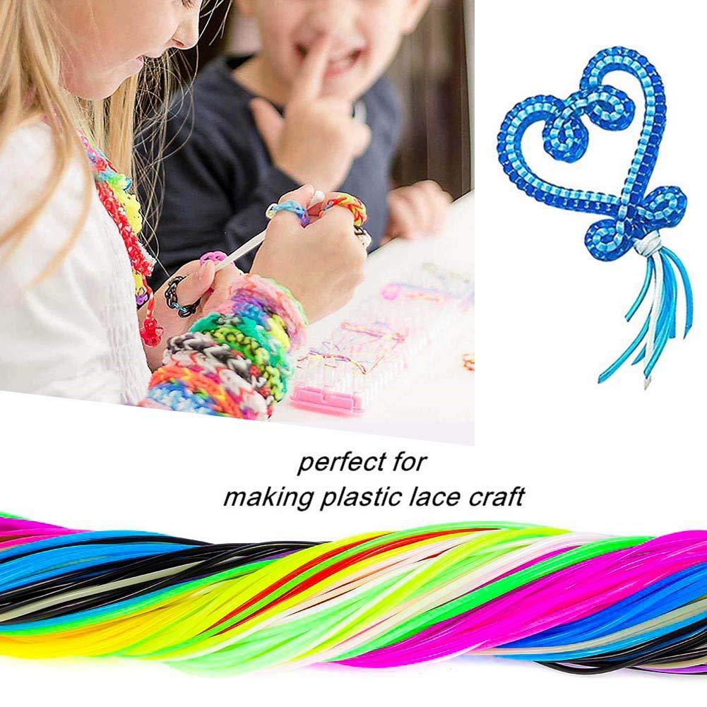 in plastica con 15 clip a scatto e 15 anelli portachiavi in 20 colori AIM Cloudbed 200 corde Scoubidou per fai da te per creare gioielli
