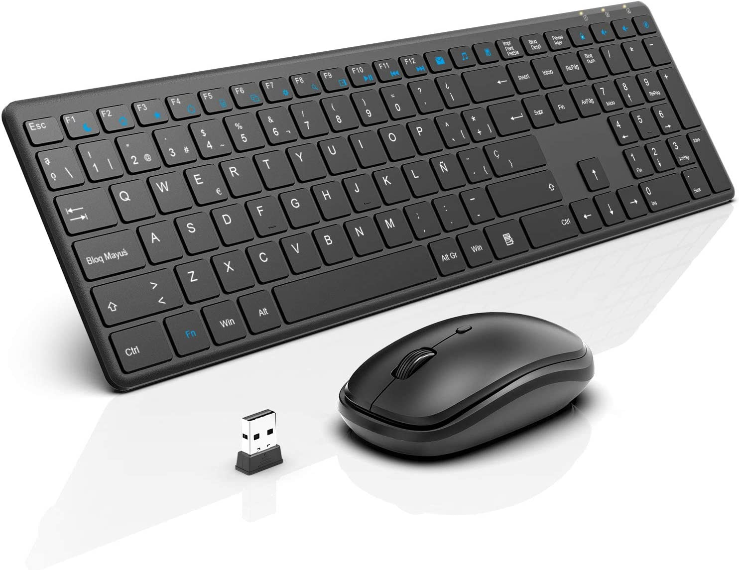 WisFox Combo de Teclado y Mouse Inalámbricos, 2.4G Mouse de Teclado Delgado de Tamaño Completo Packs con Receptor Nano para Windows, Computadora, Computadora de Escritorio, PC, Mac