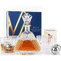 Nou Living 11 Pc Crystal Whiskey Decanter Set with Glasses – Premium Whiskey Decanter and Glass Set of 6 – Crystal…