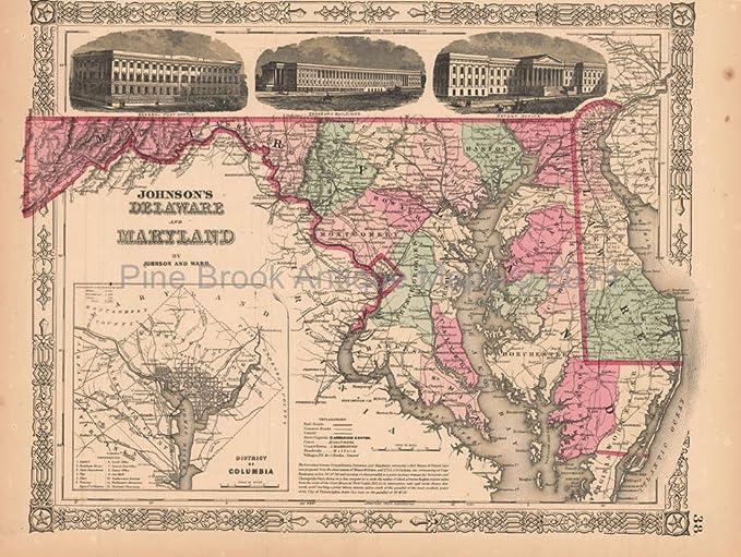 Delaware Maryland Antique Map AJ Johnson 1864 Authentic ...