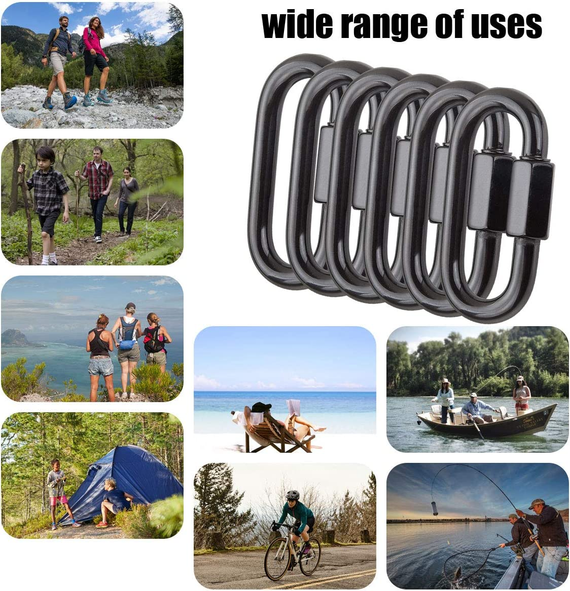 1760 Lbs. D Shape Screw Chain Link Stainless Steel Locking Carabiner Clips Black M8 Heavy Duty CBTONE 6 PCS Quick Link Chain Connector