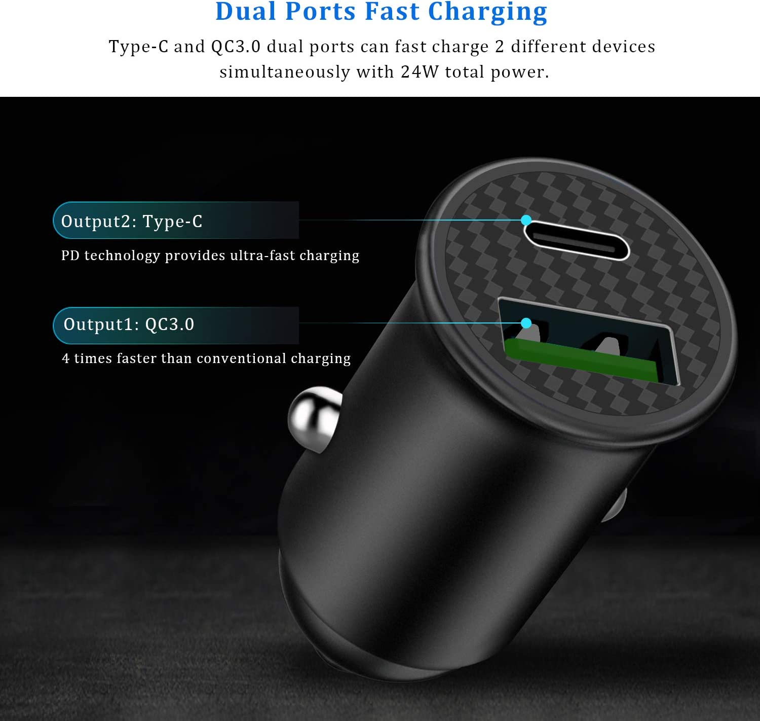 Galaxy S10//S9//S8 LG MacBook Pro//Air iPad Pro HTC etc PD Car Charger,OIIEE Mini Type-C Car Charger Adapter Quick Charge 3.0 24W Dual Ports USB-C for iPhone 11//11 Pro//11 Pro Max//Xs//Xs max//Xr//X//8