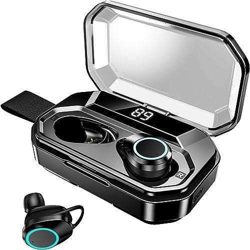 Bluetooth 5.0 TWS Wireless Earbuds, IPX7 Waterproof Deep Bass Headphones in-Ear Earphones, Built-in Mic Stereo Headset Premium Sound for Sport Black