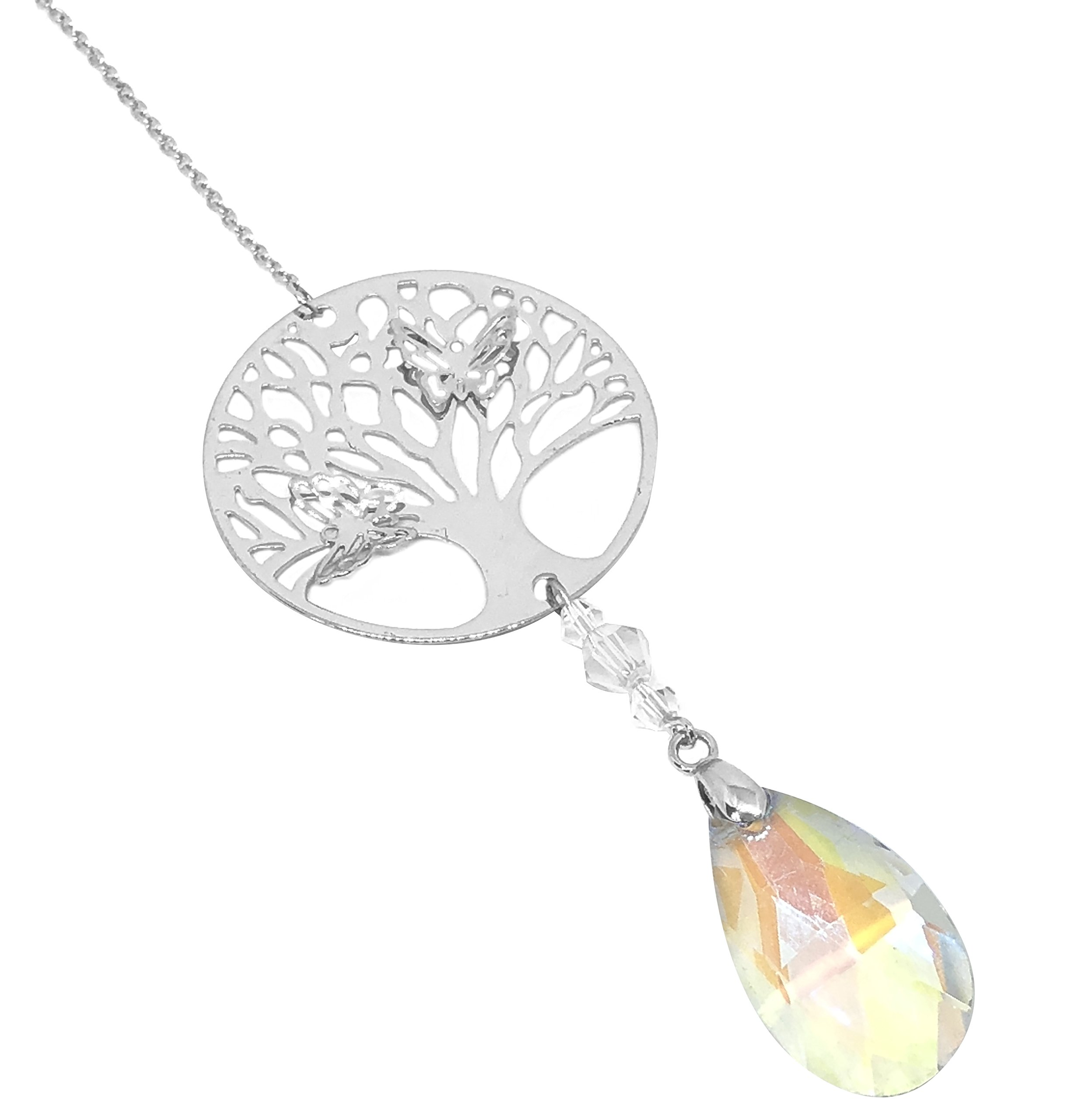 BellaMira Tree of Life Butterfly Crystal Suncatcher - Pink Purple Yellow Blue - Home Window or Car Decoration Chi Energy Positive Healing Health Personal Care - Sent In Gift Box (Yellow)
