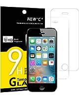 Gehärtetem Glas iPhone 5s/5/SE/5C, Displayschutzfolie new' C® Pack 2aus gehärtetem Glas Screen Protector Film Ultra robust (0,33mm HD Hohe Transparent) für iPhone 5S/5/SE/5C