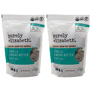 Purely Elizabeth Organic Grain Free Granola - Vanilla Almond Butter with MCT Oil - Keto, Paleo, Non GMO, and Gluten Free - 24 oz Per Bag - Choose a 2 Pack or 3 Pack (2 Pack)