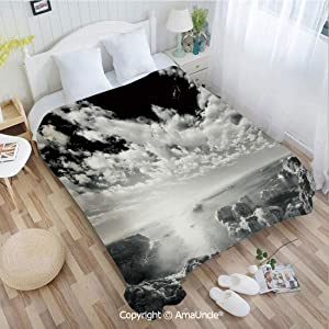 AlinaMa Custom Flannel Blanket W59.06 xL86.62 Bathroom Decor,New York Skyscrapers Skyline Black and White Rooftop View Manhattan Midtown Print Super Soft Lightweight Breathable Sleeping Blanket