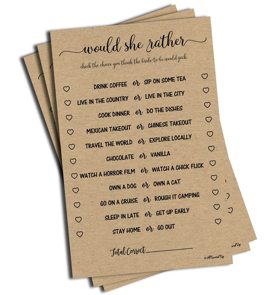 picture regarding Would She Rather Bridal Shower Game Free Printable known as Would She Pretty Recreation - Kraft (50-Sheets) Rustic Bridal Wedding ceremony Shower or Bachelorette Bash Activity, Posted Engagement Rehearsal (Huge Sizing Sheets)