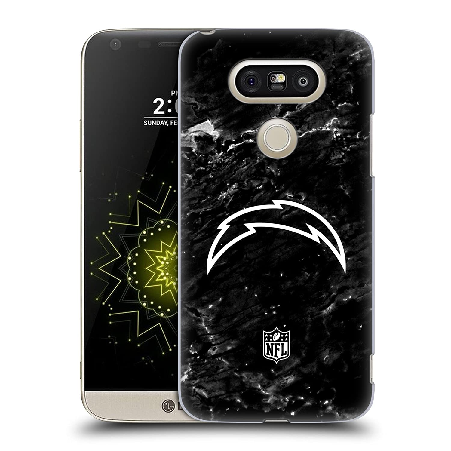 Ufficiale NFL Marmo 2017/18 Los Angeles Chargers Cover Retro Rigida per LG X Power Head Case Designs HC-XPOWER-NFLLOSDC2-MAR