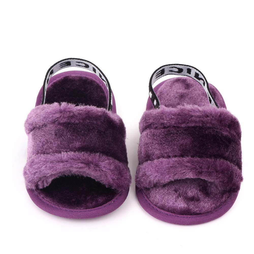 Meckior Infant Baby Girls Sandals Faux Fur Slides with Elastic Back Strap Flats Slippers Princess Dress First Walker Moccasins Shoes