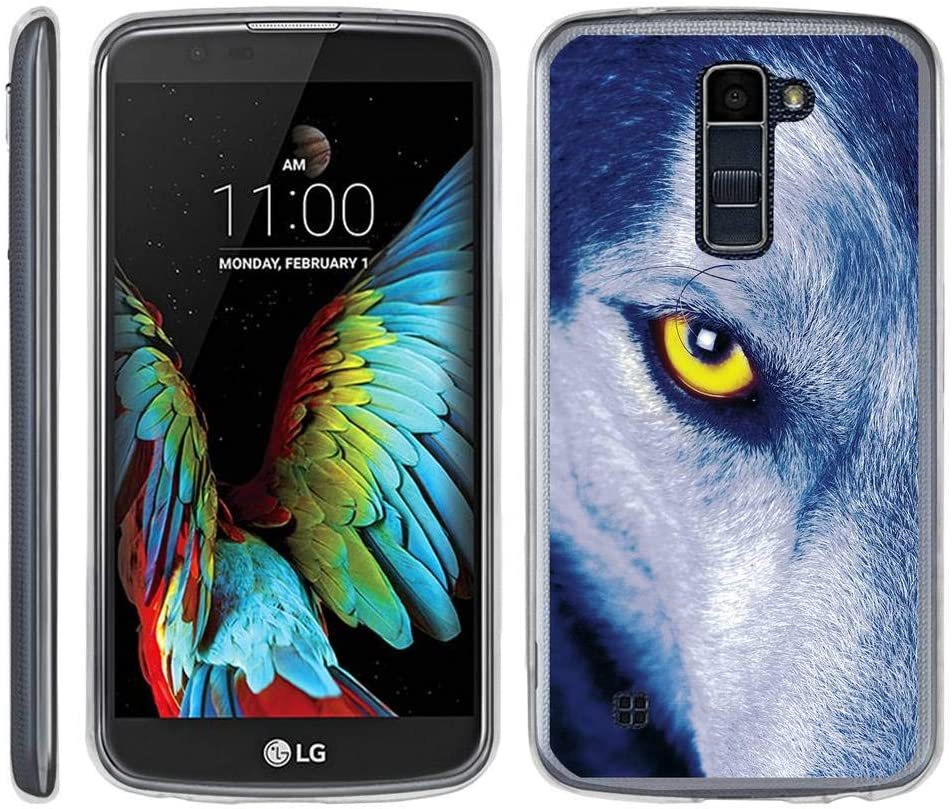 TurtleArmor | Compatible with LG K10 (2016) Case | LG Premier Case [Flexible Armor] Ultra Slim Flexible Clear TPU Case Fitted Bumper Cover Animal - Wolf Eye