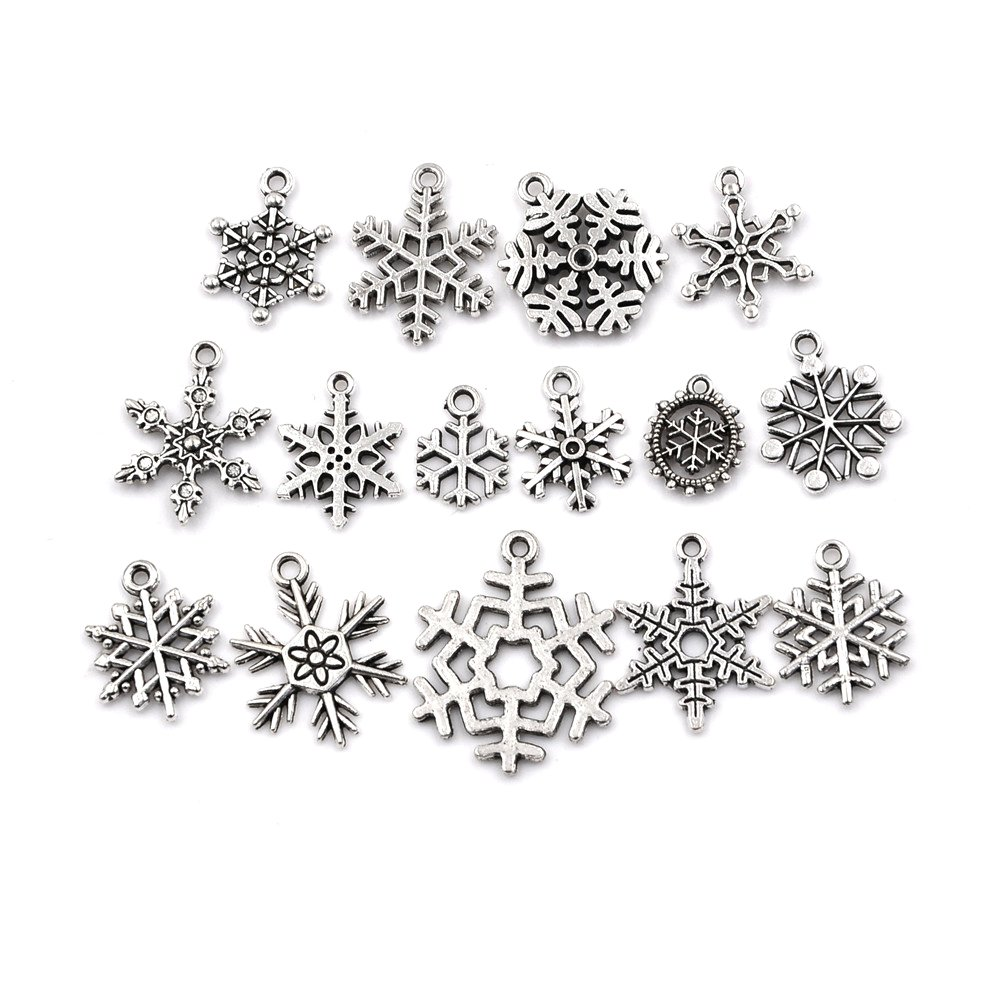Peerless 2 Packs 15 designs-30 pcs Smooth Metal Charms Pendants Alloy Tibetan Silver Snowflakes Charm Beads Pendant Jewelry Making Accessory for DIY and Christmas Crafting Attractive beauty