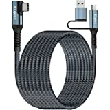 Compatible for Oculus Quest 2 Link Cable 20FT USB 3.0 Type C to C, Kuject Nylon Braided Long PC Connect Power Data Extension