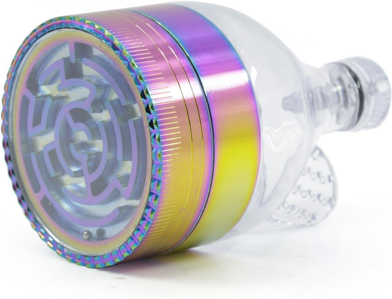 BBYaki Amoladora De Aleación De Zinc, Color Del Arco Iris De La Capa 52Mm3, Tabaco / Polen / Amoladora De Especias, Con Embudo, Fácil De Transportar