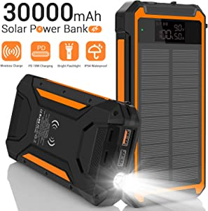 Solar Charger 30000mAh, Qi Wireless Solar Power Bank with 10W Wireless Output, High-Efficiency Solar Panel, LCD Display, Flashlight, 3 Outputs, USB C PD 18W External Battery Pack for Camping -Orange