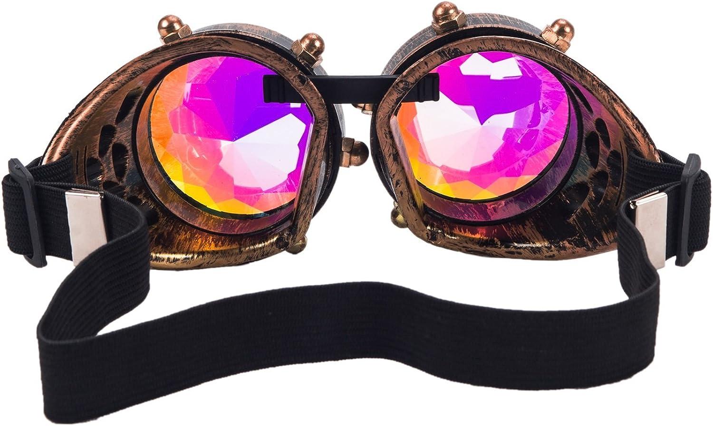 Kaleidoscope Rave Rainbow Crystal Lenses Vintage Goggles Glasses