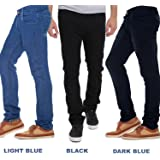 Stylox Stylish Regular Slim Fit Pack Of 3 Cotton Jeans For Men-Light Blue/Dark Blue/Black