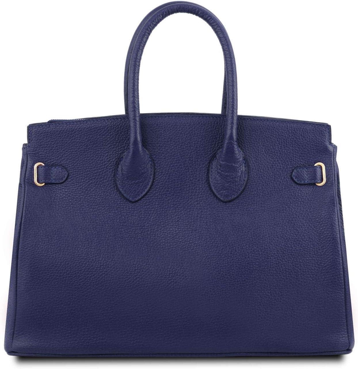 Tuscany Leather TLBag Sac /à Main pour Femme avec Finitions Couleur Or Bleu fonc/é