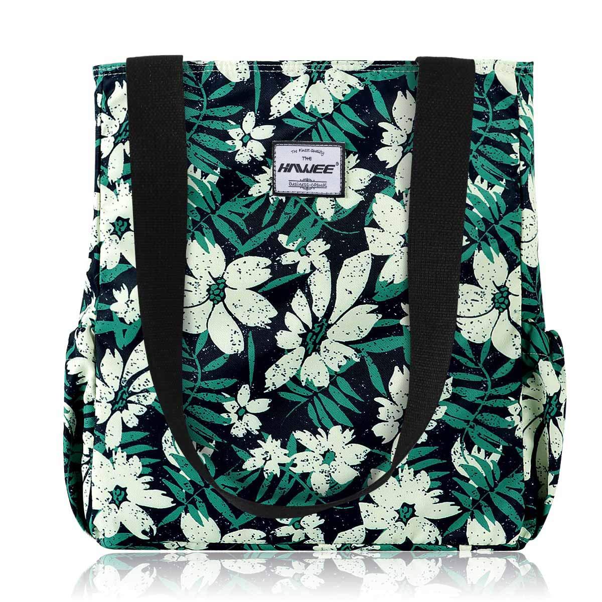 HAWEE mode dam handväska med dragkedja casual kvinnor axelväska stor shoppingväska vattentät väska för resor arbete skola vardagsliv gym strand Vita blommor gröna blad