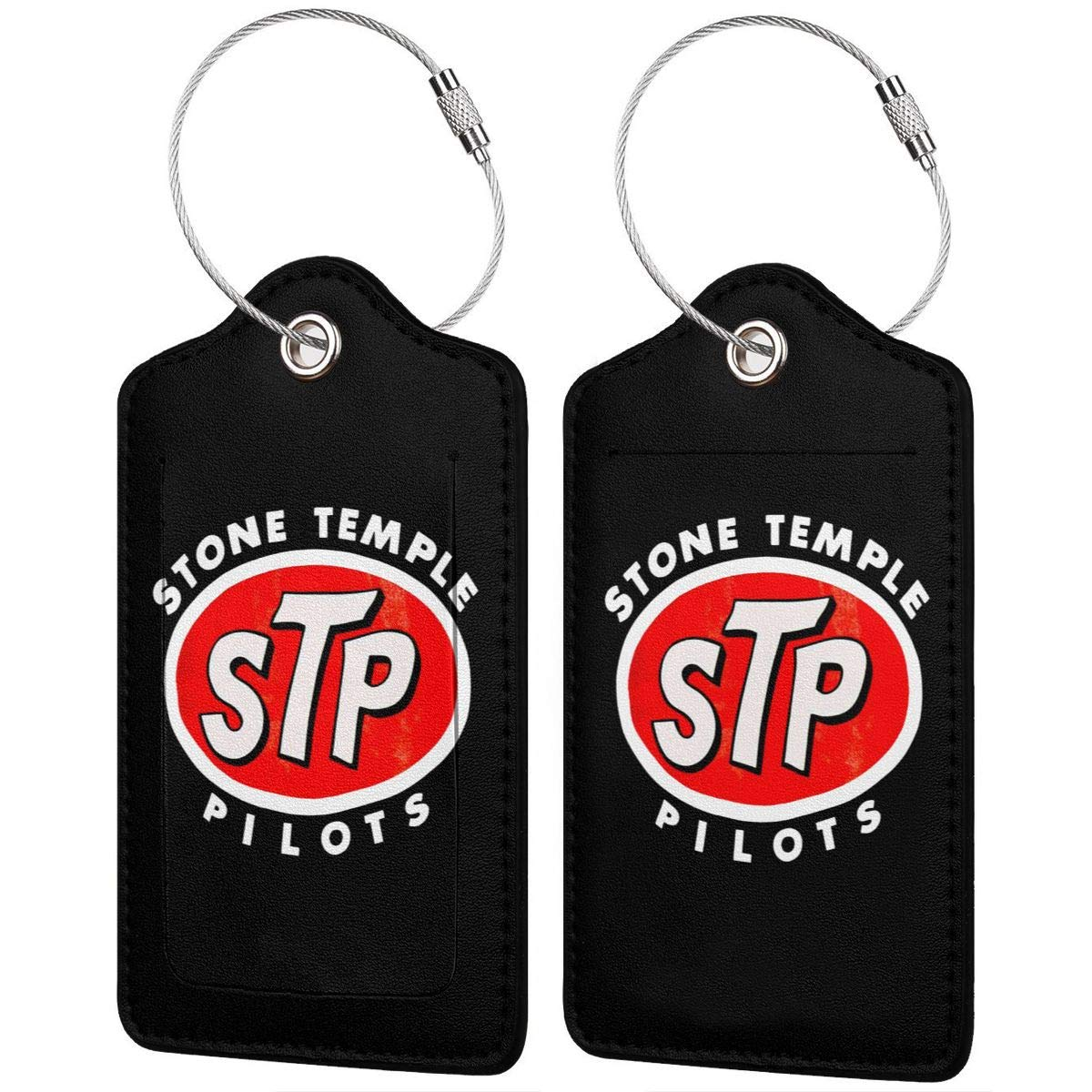 Stone Temple Pilots Logo Leather Luggage Tag Travel ID Label For Baggage Suitcase