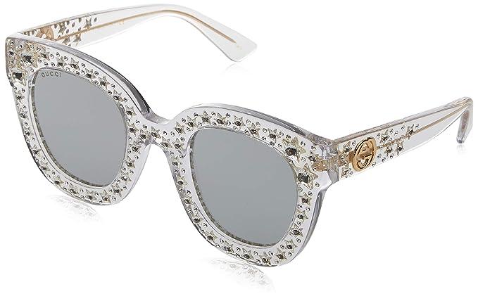 Gucci GG0116S 001 Gafas de sol, Blanco (Crystal/Silver), 49 ...