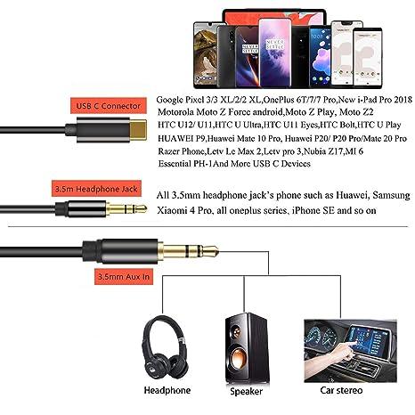 Amazon.com: Cable de audio USB C a 0.138 in Aux, Aproo tipo ...