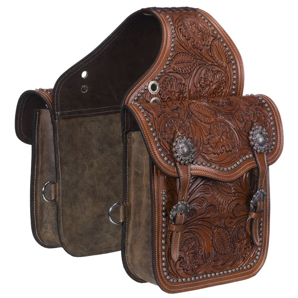 tough-1サドルバッグフローラルTooling調節可能なバックルレザー61 – 9915 One Size Tooled Leather Brown B077BHWNH8