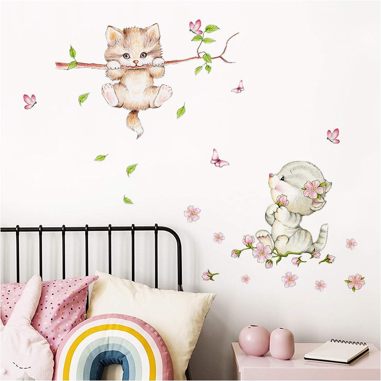 BxH 56 x 60 cm Little Deco Wandaufkleber Kinderzimmer M/ädchen 2 Katzen Schmetterlinge I S I Wandtattoo Katze Aufkleber Tiere Deko Babyzimmer Kinder DL361