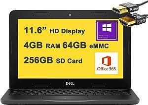 "Dell 2021 Flagship Latitude 3190 Business 11 Laptop 11.6"" HD Display Intel 4-Core Celeron N4120 4GB RAM 64GB eMMC + 256GB SD Card Intel UHD Graphic WIFI5 office365 Win10Pro Black + iCarp HDMI Cable"