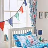 """Riva Paoletti Kids Robot Pencil Pleat Curtains (Pair) - Blue and Grey - Matching Tiebacks - Machine Washable - 168cm width x 183cm drop (66"""" x 72"""" inches) - Designed in the UK"""