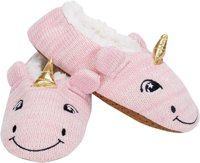 Pink Unicorn Womens Animal Cozy Indoor Plush Lined Non Slip Fuzzy Soft Slipper - Medium