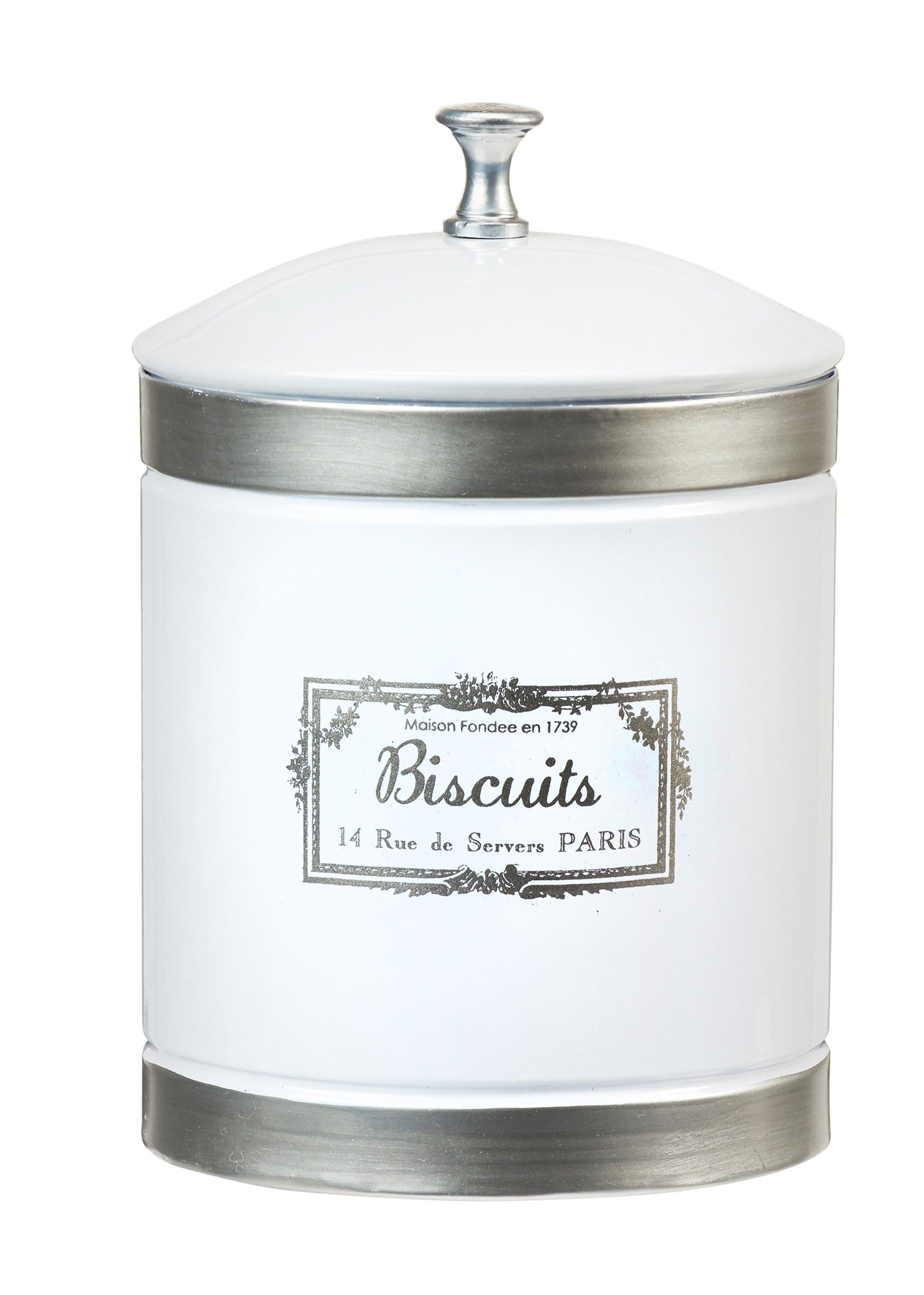 Amici Home, A5GS038R, Country Farmhouse Collection Biscuits Metal Storage Canister, Lid, Food Safe, 78 Ounces, Large
