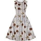 81be16162f2 Wellwits Women s Rose Print Sundress Tea Party 1950s Retro Vintage Dress