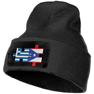 Men   Women Greece Greek Puerto Rico Flags Puzzle Outdoor Fashion Knit  Beanies Hat Soft Winter baa1b04732b