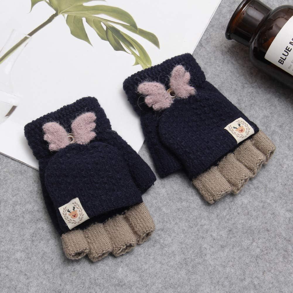 LIAODS Women Reindeer Horn Clamshell Acrylic Fingerless Gloves Cute Warm Patchwork Mittens for Students Girls